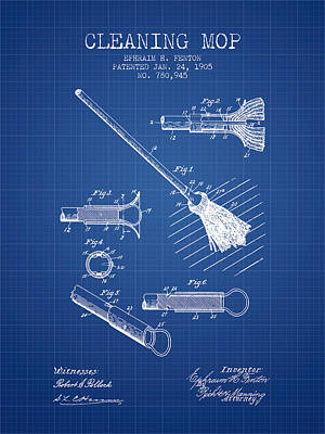 Cleaning Mop Patent From 1905 - Blueprint Print by Aged Pixel