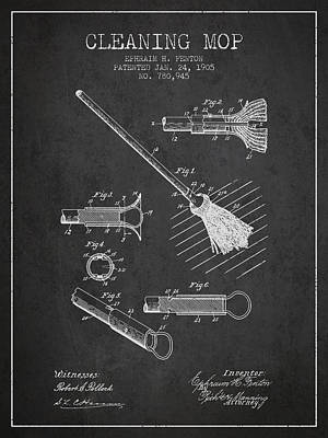 Mop Drawing - Cleaning Mop Patent From 1905 - Charcoal by Aged Pixel