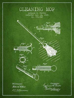 Mop Drawing - Cleaning Mop Patent From 1905 - Green by Aged Pixel