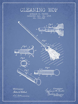 Mop Drawing - Cleaning Mop Patent From 1905 - Light Blue by Aged Pixel