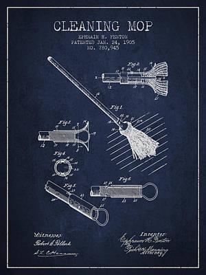 Mop Drawing - Cleaning Mop Patent From 1905 - Navy Blue by Aged Pixel