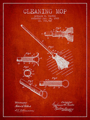 Mop Drawing - Cleaning Mop Patent From 1905 - Red by Aged Pixel