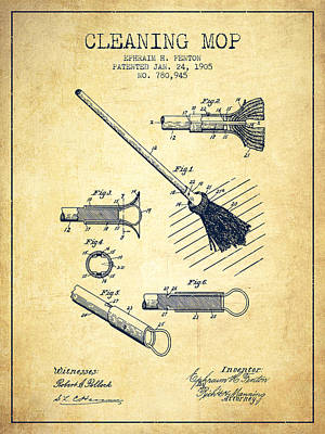Mop Drawing - Cleaning Mop Patent From 1905 - Vintage by Aged Pixel