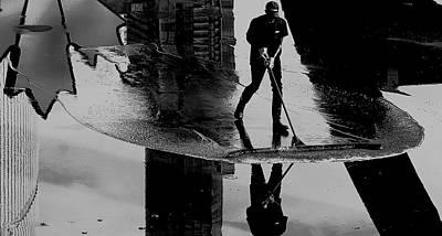 Broom Wall Art - Photograph - Cleaning The Sky by Jian Wang