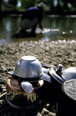 Altai Mountains Photograph - Cleaning Up The Dishes In The River by Olivier Renck