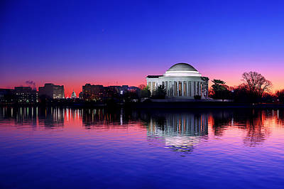 Clear Blue Morning At The Jefferson Memorial Art Print by Metro DC Photography