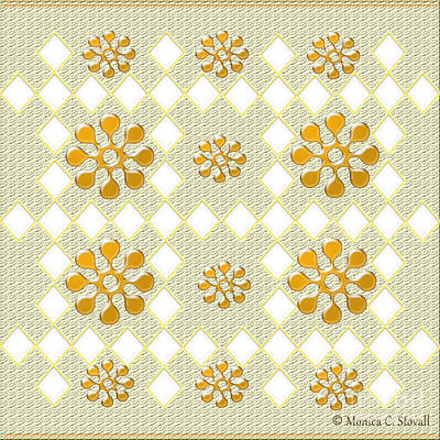 Digital Art - Clear Diamonds And Gold Flowers On Pale Green Design by Monica C Stovall