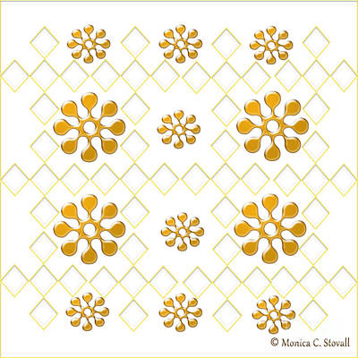 Digital Art - Clear Diamonds And Gold Flowers On White Design by Monica C Stovall