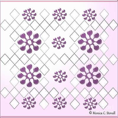 Digital Art - Clear Diamonds And Purple Flowers On Gradient Light Purple Design by Monica C Stovall