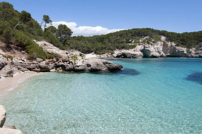 Pop Art Rights Managed Images - Clear water - White rocks turquoise water not a tropical beach but a mediterranean one cala mitjana Royalty-Free Image by Pedro Cardona Llambias