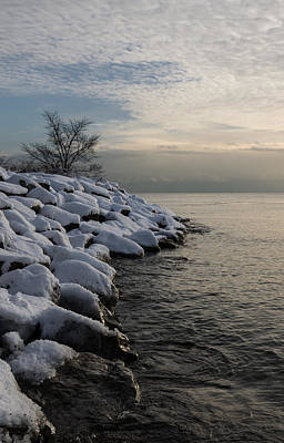 Photograph - Clearing Snowstorm - Lake Ontario Toronto Canada by Georgia Mizuleva