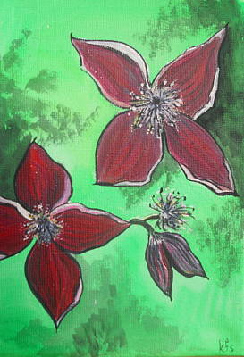 Nature Painting - Clematis Burgundy by Kathy Spall