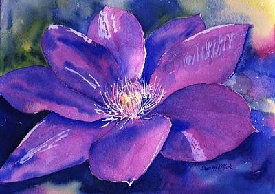 Painting - Clematis Gipsy Queen In Bloom by Sharon Mick