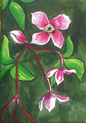 Cottage Painting - Clematis Montana Rubins by Kathy Spall