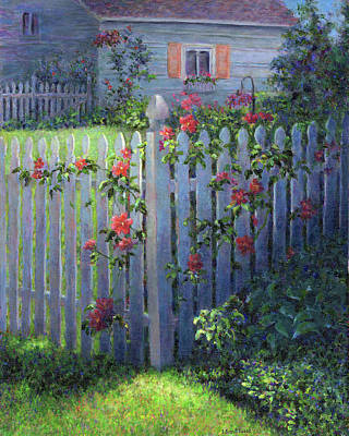 Painting - Clematis On A Picket Fence by Susan Savad