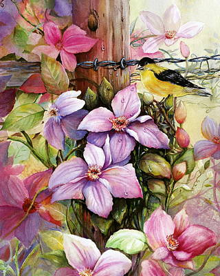 Clematis Vine And Goldfinch Art Print by Patricia Schneider Mitchell