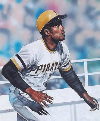 Baseball Hall Of Fame Painting - Clemente by D A Nuhfer