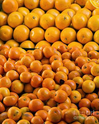 Clementines And Oranges In Market Print by Martyn F. Chillmaid