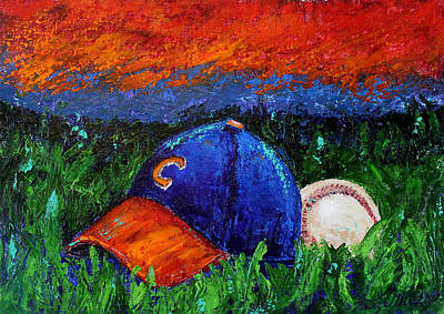 Abstract Baseball Painting - Clemson Baseball by Kristye Addison Dudley