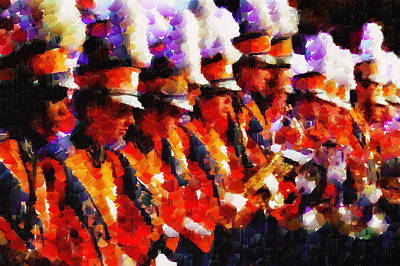 Clemson Tiger Band - Afremov-style Art Print by Lynne Jenkins