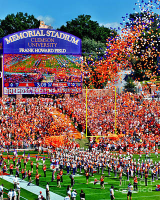 Stadium Digital Art - Clemson Tigers Memorial Stadium by Jeff McJunkin