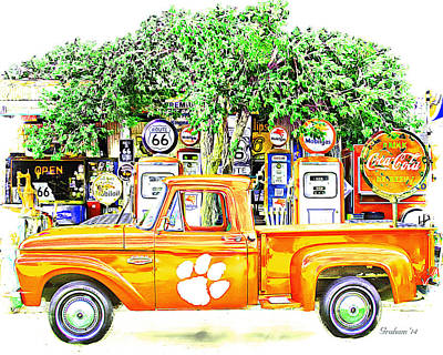 Route 66 Mixed Media - Clemson Tigers Vintage Fan Art  by Dwayne  Graham