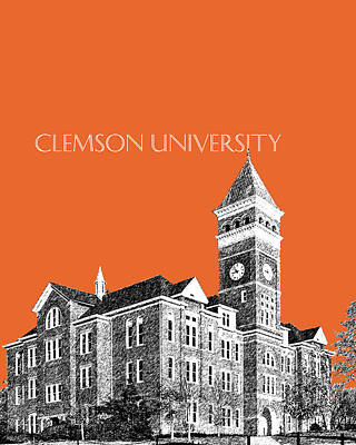 Dorm Room Decor Digital Art - Clemson University - Coral by DB Artist