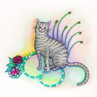 Gray Tabby Drawing - Cleo by Joy Calonico