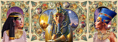 Composite Digital Art - Cleo Tut Neffi Triptych by Andrew Farley