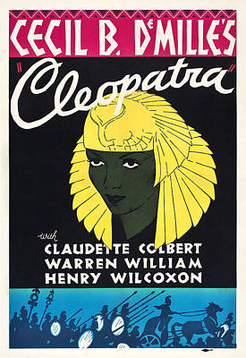 Cleopatra, Claudette Colbert On Poster Print by Everett