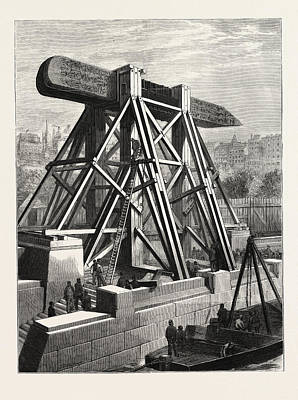 Cleopatras Needle  The Machinery For Placing The Obelisk Art Print by English School