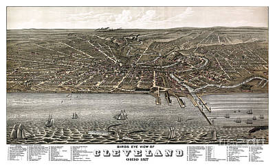 Vintage Map Painting - Cleveland - Ohio - 1877 by Pablo Romero