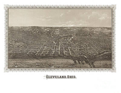 Vintage Map Painting - Cleveland - Ohio - 1887 by Pablo Romero