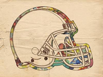Painting - Cleveland Browns Helmet Poster by Florian Rodarte