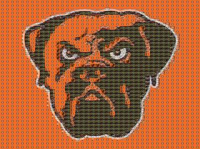 Cleveland Browns Mosaic Print by Dan Sproul