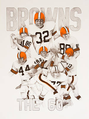 Jimmy Drawings Drawing - Cleveland Browns - The 60's by Joe Lisowski