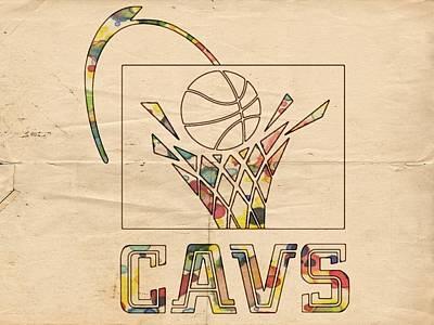 Painting - Cleveland Cavaliers Vintage Logo by Florian Rodarte