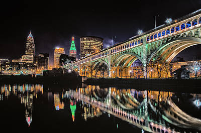 Cleveland Christmas Bridge Art Print