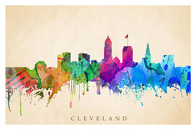 Digital Art - Cleveland Cityscape by Steve Will