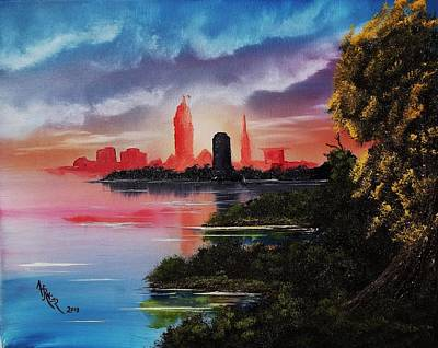 Wet On Wet Painting - Cleveland Farewell Sunset by Alfred Stringer