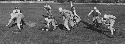 Black By Playing Photograph - Cleveland High Schools Playing Six Man Football In 1941 by Mountain Dreams