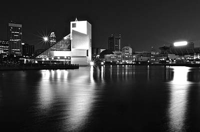 Sports Royalty-Free and Rights-Managed Images - Cleveland In Black and White by Frozen in Time Fine Art Photography