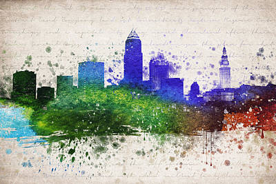 Downtown Cleveland Digital Art - Cleveland In Color by Aged Pixel