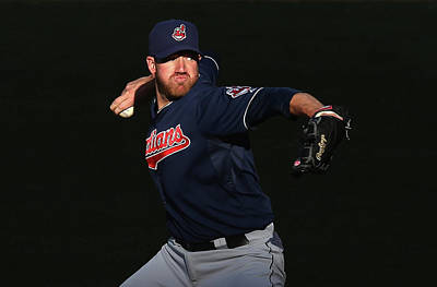 Photograph - Cleveland Indians V Los Angeles Angels by Jeff Gross