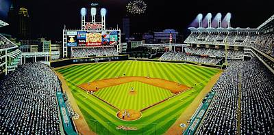 Baseball Murals Painting - Cleveland Jackobs Nocturn Fireworks by Thomas  Kolendra
