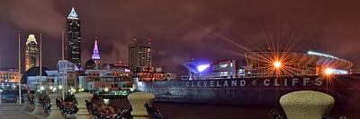 Athletes Royalty-Free and Rights-Managed Images - Cleveland Lakefront Night Panorama by Frozen in Time Fine Art Photography