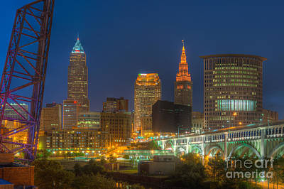 Photograph - Cleveland Night Skyline II by Clarence Holmes