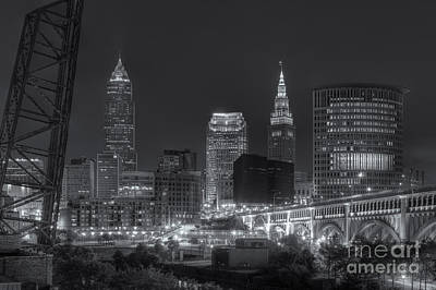 Photograph - Cleveland Night Skyline Iv by Clarence Holmes