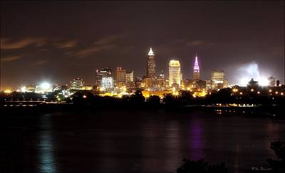 Photograph - Cleveland Nightime Skyline by Daniel Behm
