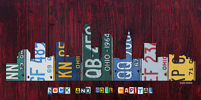 Skyline Mixed Media - Cleveland Ohio City Skyline License Plate Art On Wood by Design Turnpike